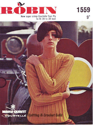 1960s vintage knitting pattern; Robin; Mary Quant; orange sweater with smocking; retro