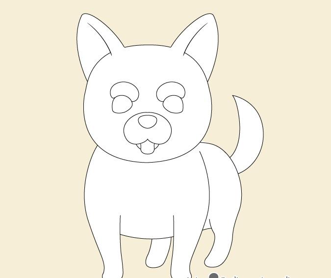 Menggambar wajah anjing anime