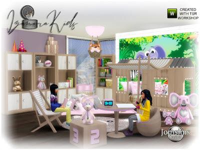 Izanora kids bedroom Izanora детская спальня для The Sims 4 Мягкость в 4 оттенках и деревянная детская кровать. хижина. часть 2 хижина. лестница deco.ceiling light.2 коврики. обои для рабочего стола. кровать матрас. кресло. подушки напольные. подушки кровати. 2 комода. свет для хижины. Ваше маленькое прикосновение к хижине, когда он ложится спать, взрослые не допускаются, иначе их головы коснутся хижины. Автор: jomsims