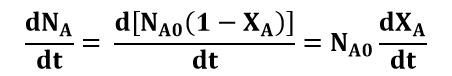 Variación del número de moles de la especie A en función del tiempo dentro del reactor batch
