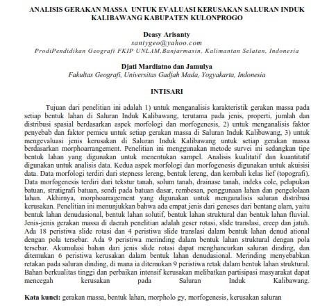 Analisis Gerakan Massa untuk Evaluasi Kerusakan Saluran Induk Kalibawang [PAPER]