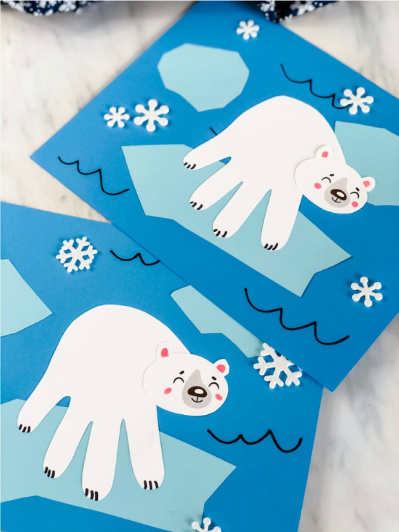 polar bear handprint paper craft for kids