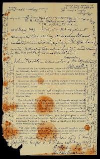 Nota original encontrada por la expedición de McClintock