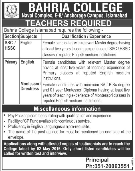 Teachers Required at Bahria College Islamabad