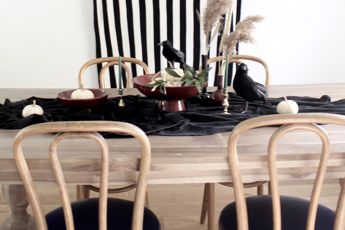 Modern Minimalist Halloween Tablescape