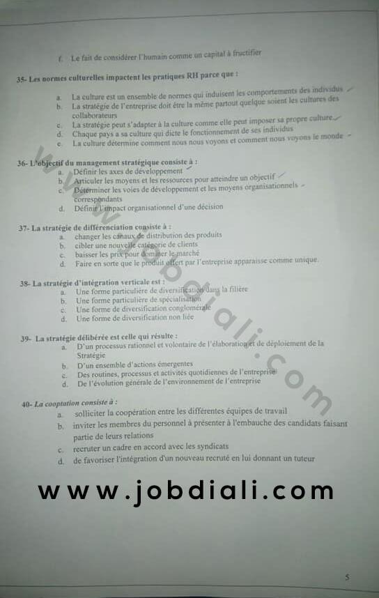 Exemple Concours de Recrutement d'un Administrateur de 2ème Grade 2019 - Université Mohammed V de Rabat