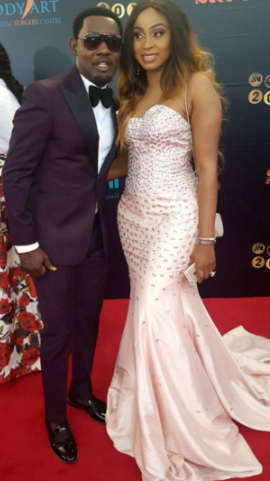 Ayo Makun and wife at AMVCA 2016