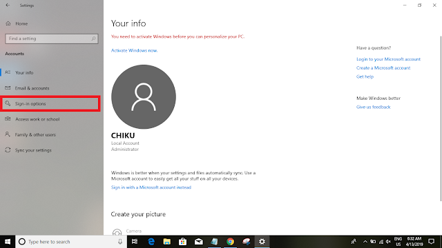 Windows 10 password change