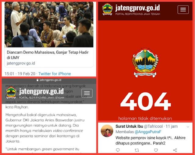 TERCYDUK Sebar Hoax dan Fitnah terhadap Gubernur Anies, Situs Resmi Pemprov Jateng Akhirnya HAPUS POSTINGAN