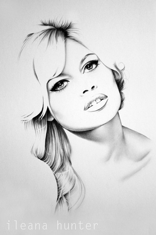 05-Brigitte-Bardot-Ileana-Hunter-Celebrity-Black-and-White-Stylish-Drawing-Portraits-www-designstack-co