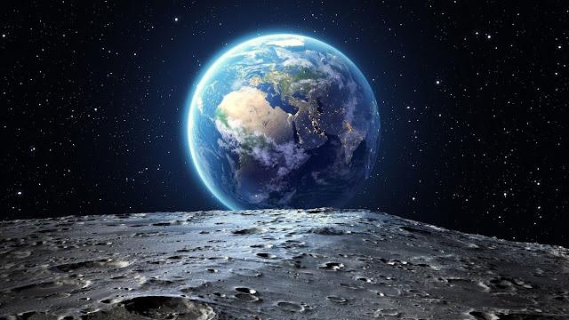 terra, pianeta, luna, spazio, paesaggio lunare,