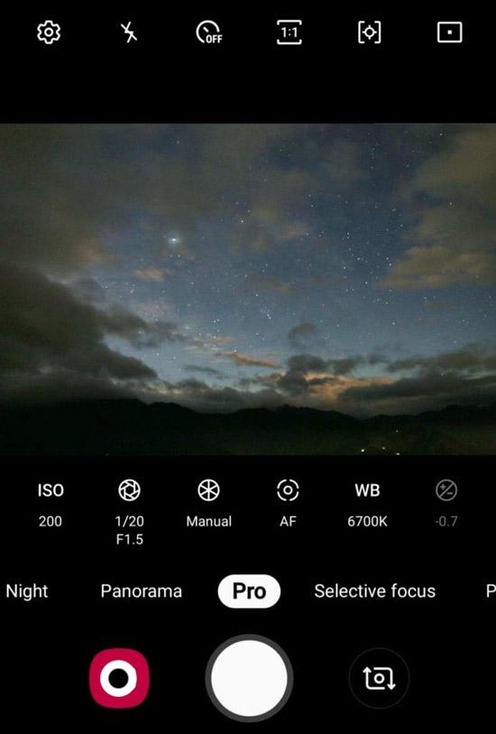 إعدادات وضع Pro في كاميرا الهاتف