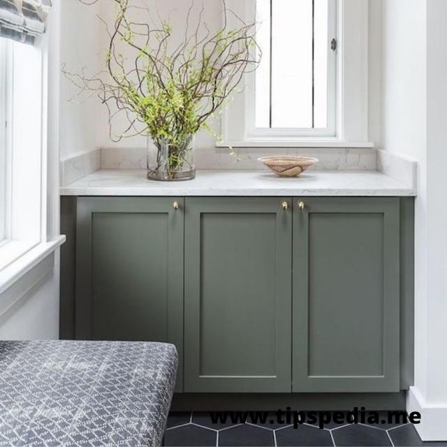 sage green bathroom cabinets