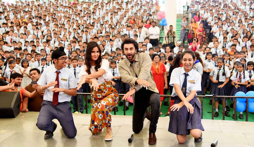 Ranbir and Katrina Kaif Meet The Kids of Ryan International School In Vasant Kunj, Delhi