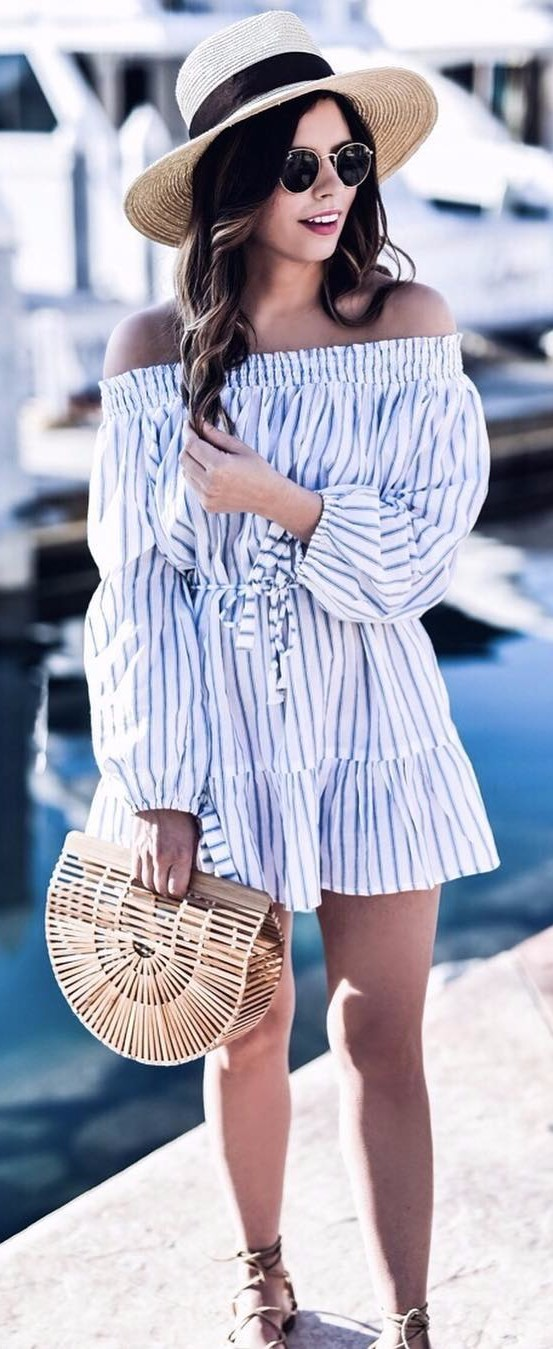 off-the-shoulder perfection: spring outfit idea