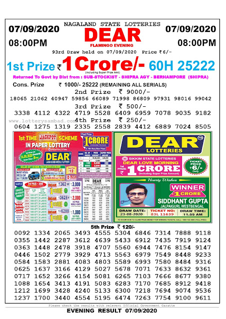 Lottery Sambad Result 07.09.2020 Dear Flamingo Evening 8:00 pm
