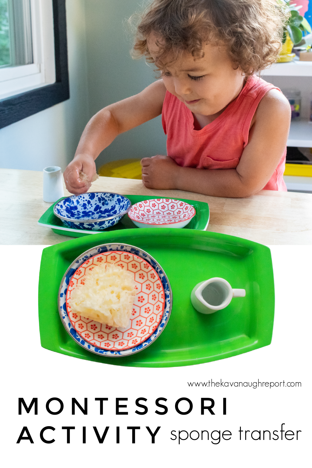 Sponge transferring is an easy, indoor, toddler activity that you can set up at home to work on fine motor skills and sequencing.