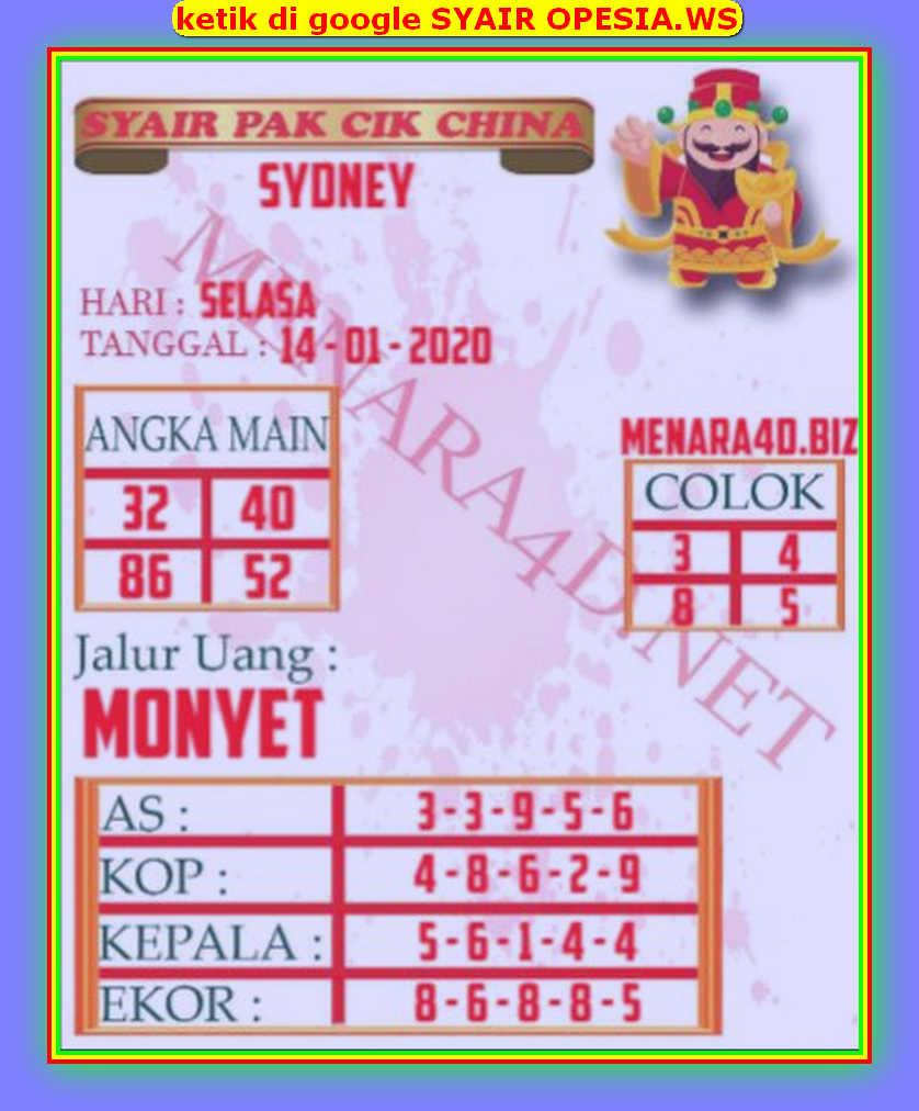 Kode syair Sydney Selasa 14 Januari 2020 119