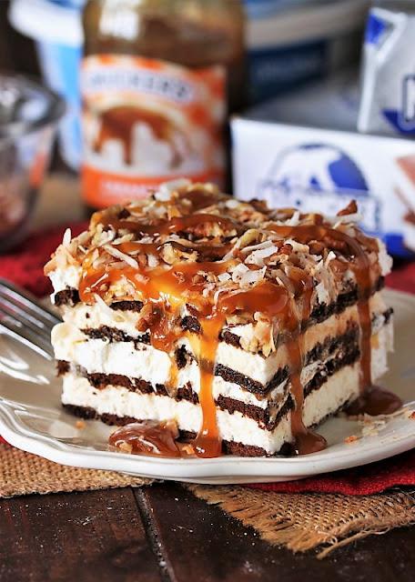 Piece of Coconut-Caramel Ice Cream Sandwich Dessert Image