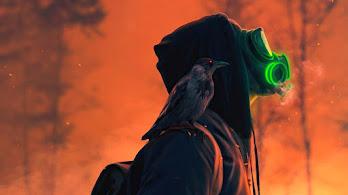 Gas Mask, Raven, Digital Art, 4K, #6.2644