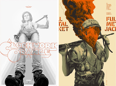 A Clockwork Orange & Full Metal Jacket Movie Poster Screen Prints by Oliver Barrett x Mondo x Stanley Kubrick