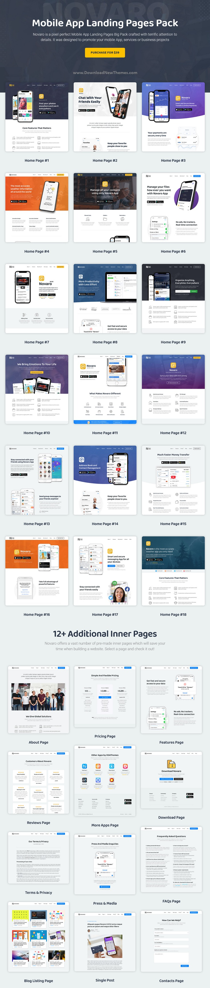 Novaro - App Landing Page WordPress Theme
