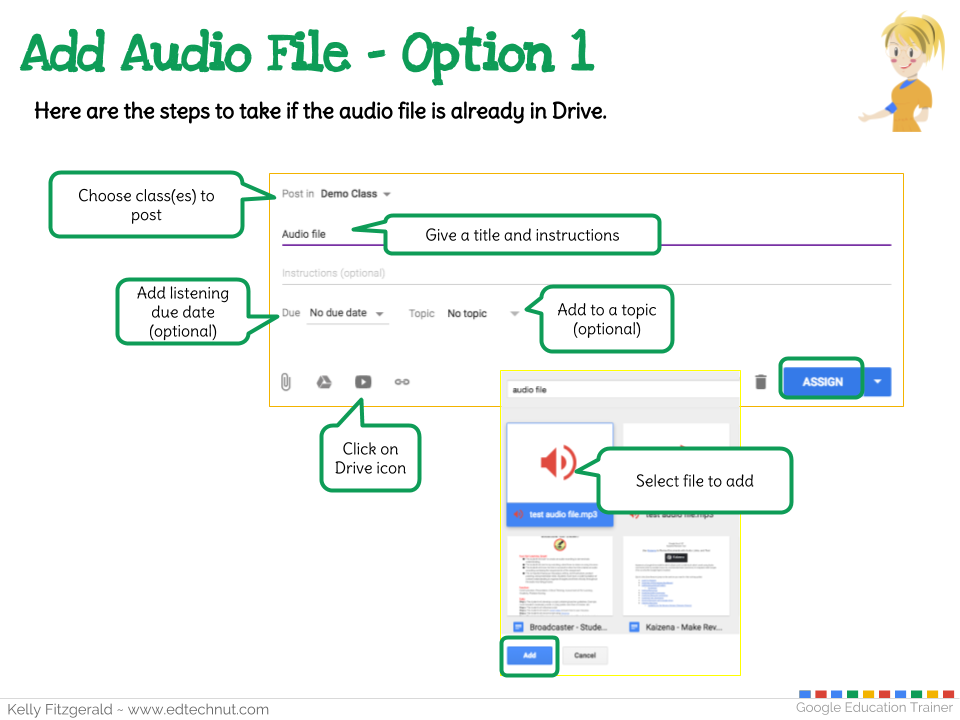 EdTech Nut - Kelly Fitzgerald: Adding Audio Files to Google Classroom