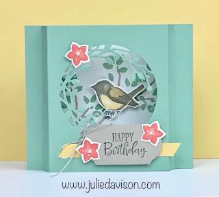 Stampin' Up! VIDEO: Birds & Branches Diorama Card Tutorial ~ www.juliedavison.com #stampinup