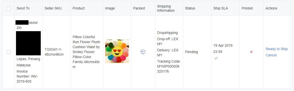 Lazada seller order details