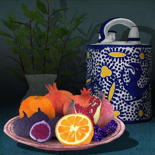 granadas, higos y naranja, dibujo
