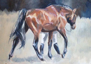 Equestrian artist uk, acrylic painting of bay horse, equine art, horse in art