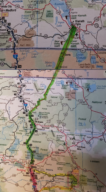 Map- Redding, CA to Klamath, Oregon