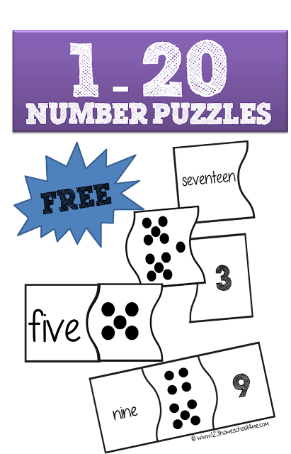 1-20 Number Puzzles are a fun way for preschool, kindergarten, and 1st grade kids to practice counting and number words