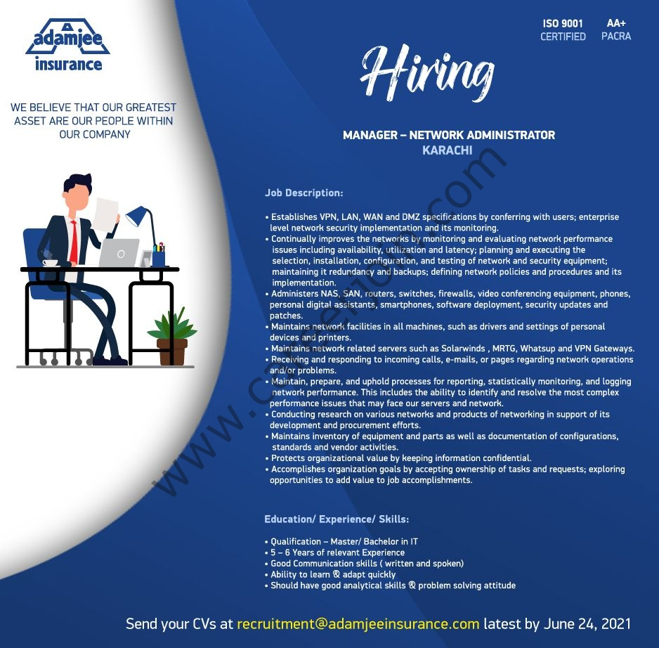 Adamjee Insurance Company Ltd Jobs 2021 in Pakistan
