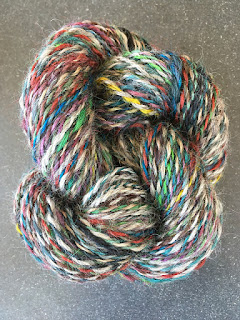 Multi-color skein of handspun rug yarn