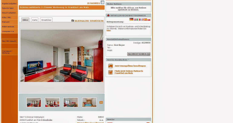 Moblierte Wohnung Frankfurt