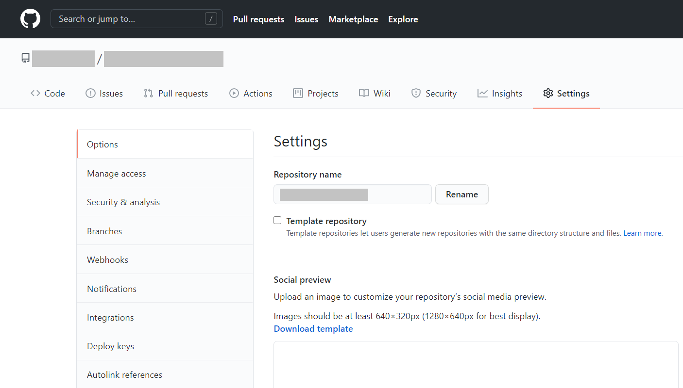 Settings page in a GitHub repository