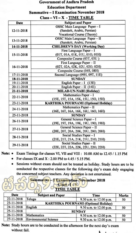 Summative Assessment S A 1 exams time table in A.P Schools