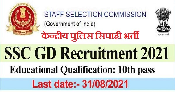 SSC GD Notification 2021 for 25271 Constable Posts
