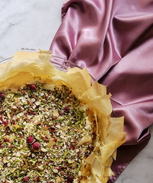 baklava cheesecake, baklava, cheese cake, dessert, cold dessert, sweet, middle eastern, recipe, dessert recipe, dessert pictures, food pictures, food photography, spicy fusion kitchen, pastry, pinterest food, eid, ramadan, pecans, almonds, pistachios, resin coaster