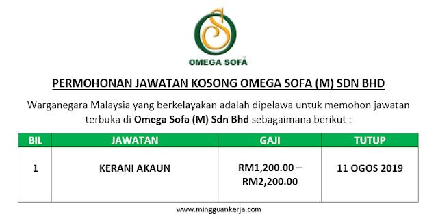 Kerani Akaun - Omega Sofa (M) Sdn Bhd