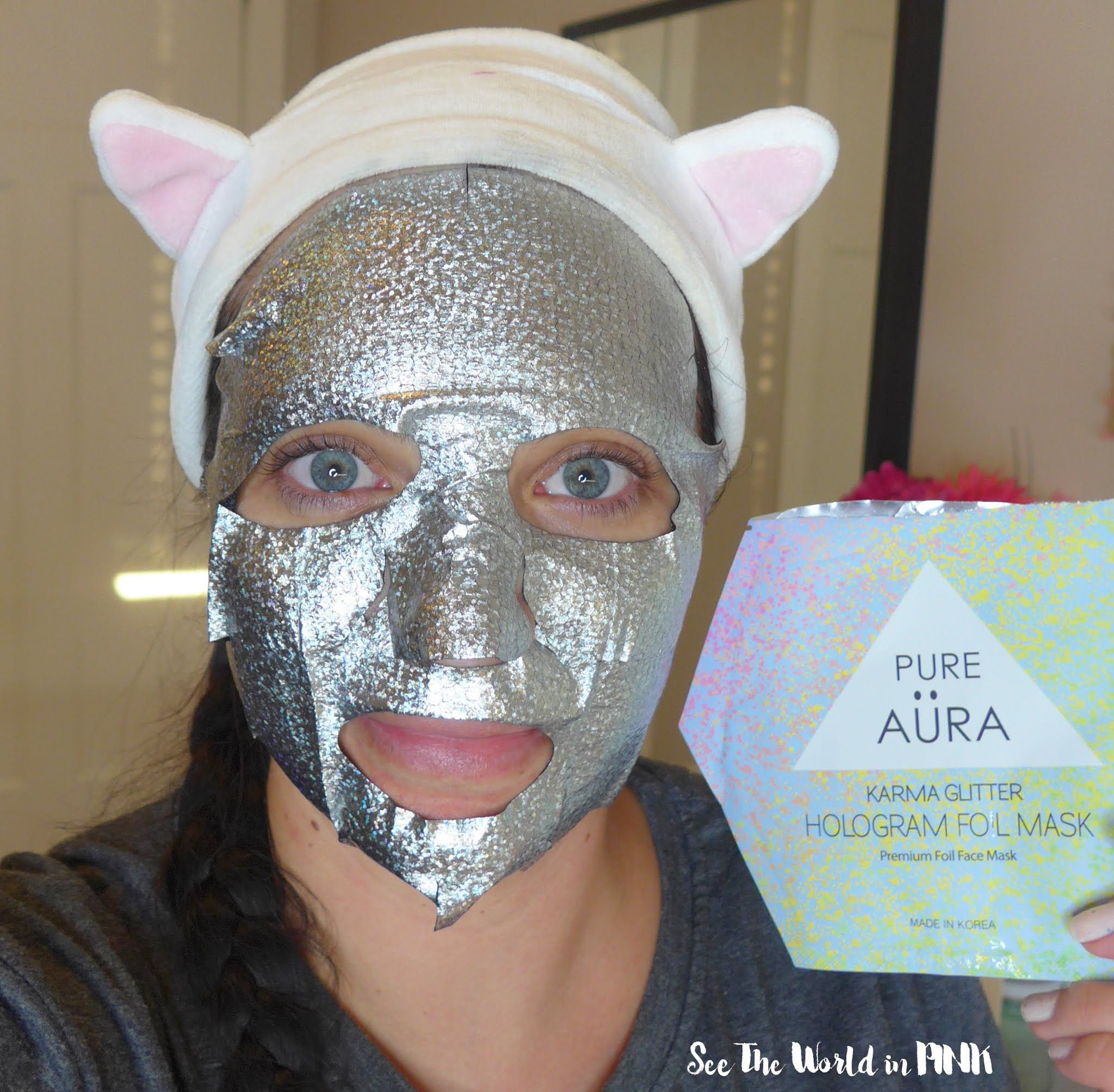 Mask Wednesday - Pure Aura Karma Glitter Hologram Foil Sheet Mask