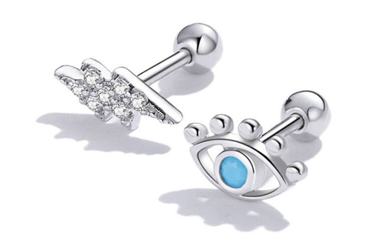不對稱風閃亮藍眼睛 925純銀耳環