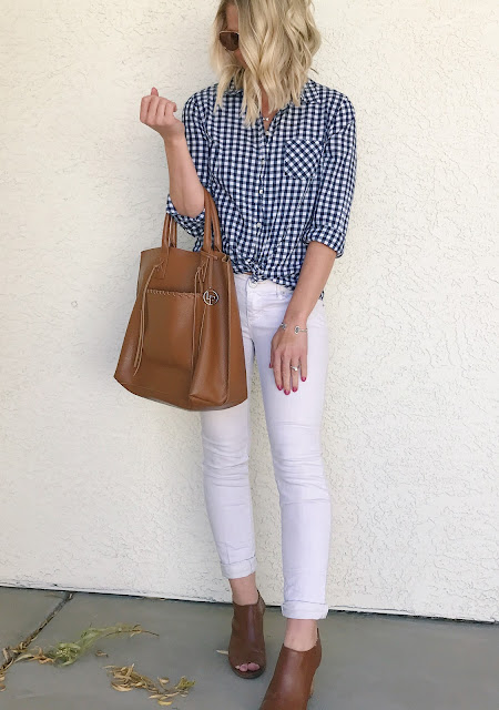 Gingham button down top with white jeans