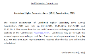 SSC CHSL 2015 Answer Keys