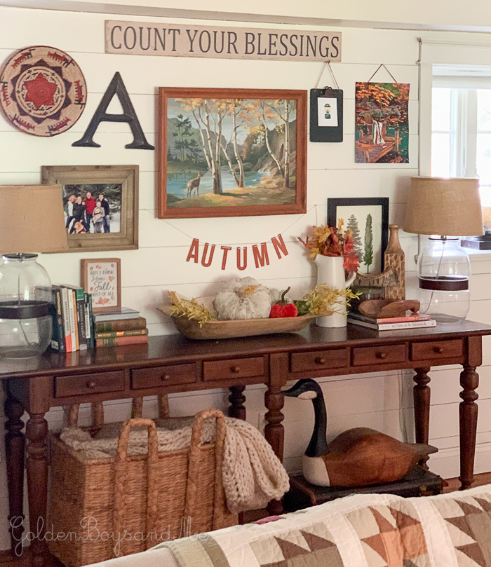 Gallery wall with fall decor and Pottery Barn console table - www.goldenboysandme.com