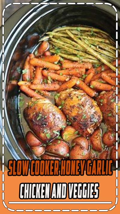 Easy Slow Cooker Honey Garlic Chicken And Veggies Recipe | The easiest one pot recipe ever. Simply throw everything in and that's it! No cooking, no sauteeing. SO EASY! | #slowcooker #crockpot #chicken #vegan