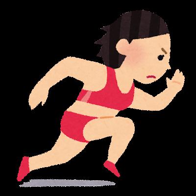 短距離走のイラスト(女子陸上)