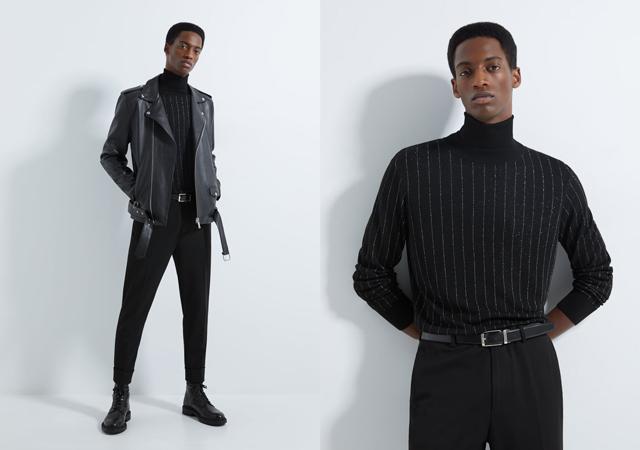 jersey de cuello alto negro con rayas