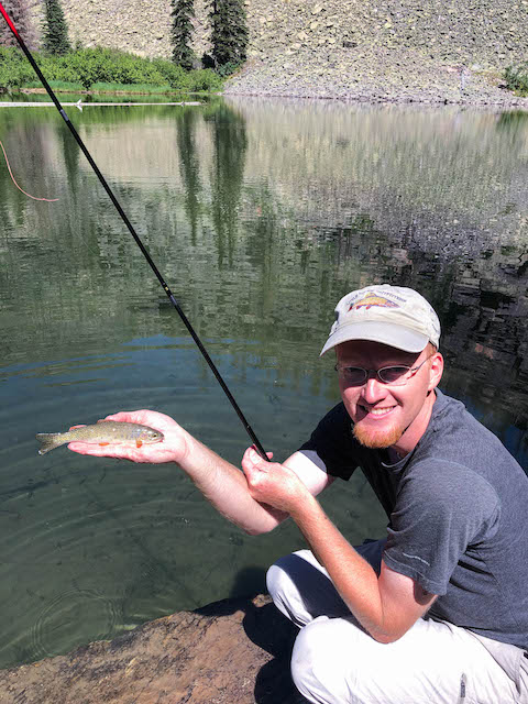 Tenkara caught cutthroat trout at Snyder Lake in Glacier National Park